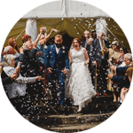 Civil ceremony confetti at Poundon House Wedding Venue | Oxfordshire | UK